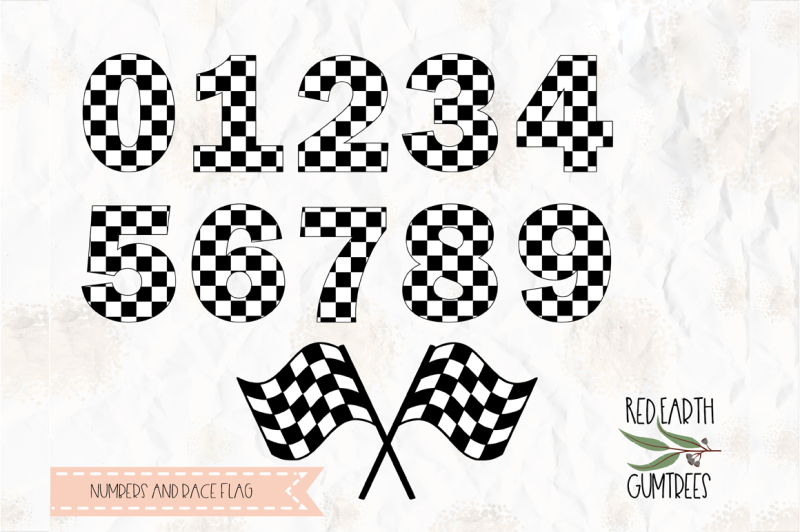 Checkered numbers, race flag SVG, PNG, DXF,PDF for cricut