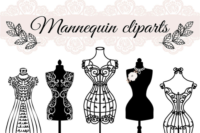 VECTOR Hand draw mannequin, fashion, dress forms clipart