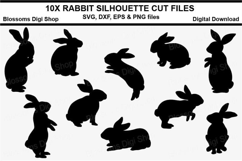 Download Rabbit silhouettes, SVG, DXF, EPS and PNG cut files By ...