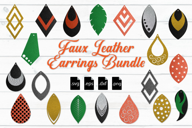 Download Faux Leather Earrings Bundle: SVG, EPS, DXF, PNG By Craft ...