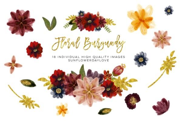 floral burgundy clip art watercolor