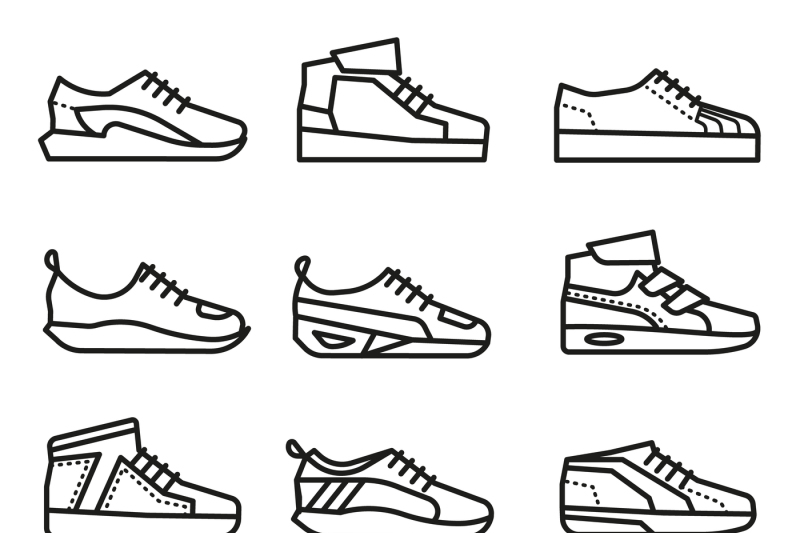 Sneakers, running shoes vector thin line icons set By