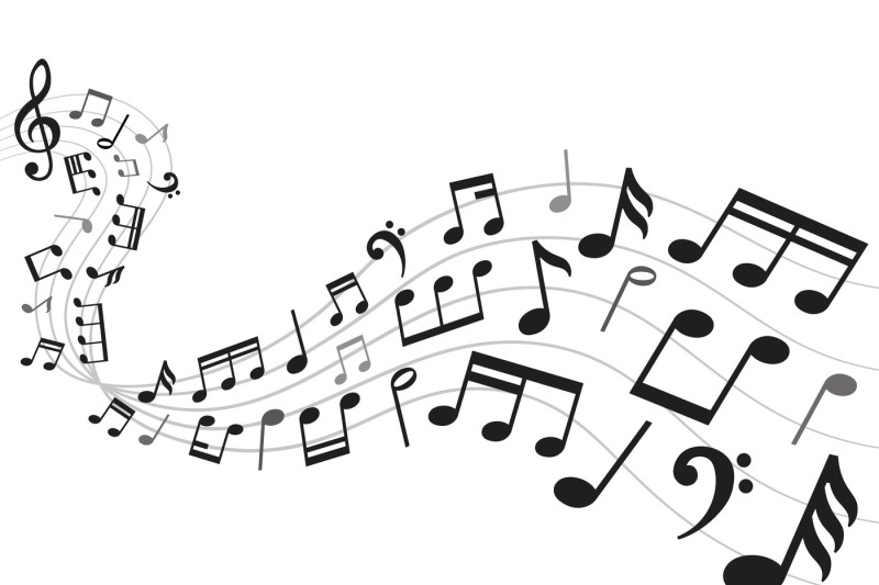 Musical notes background. Music notation sheet, sound ...
