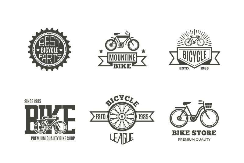 Bike shop, bicycle, biking vintage vector labels, logo