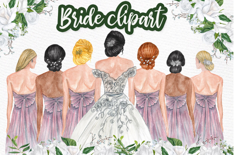 Bride And Bridesmaids Clipart Bridesmaid Illustrations By Lecoqdesign Thehungryjpeg Com