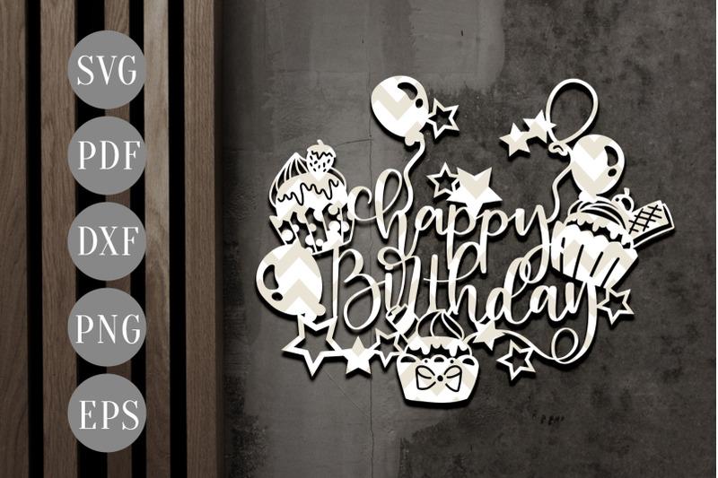 happy birthday papercut template