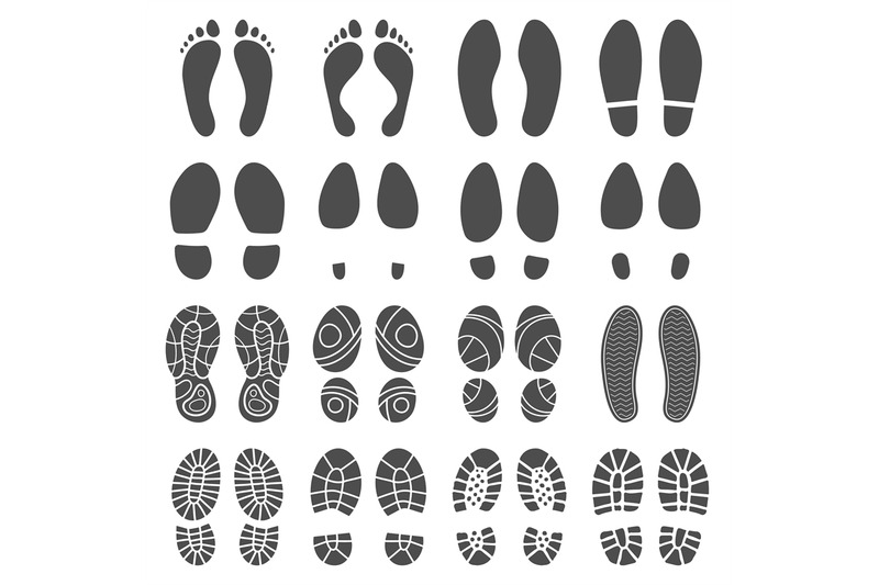 Footprints silhouettes. Barefoot steps prints, boots step