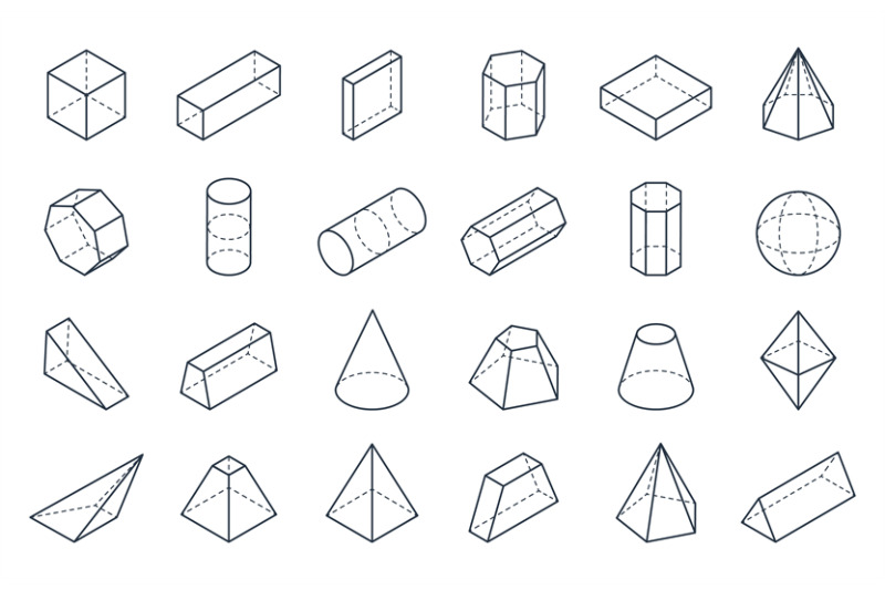 3D geometric shapes. Isometric linear forms, cube cone