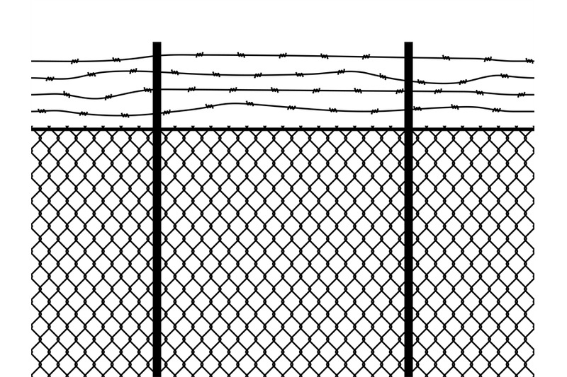 Prison fence. Seamless pattern metal fence wire military