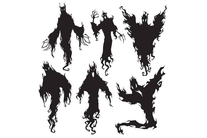 Evil spirit silhouette. Halloween dark night devil