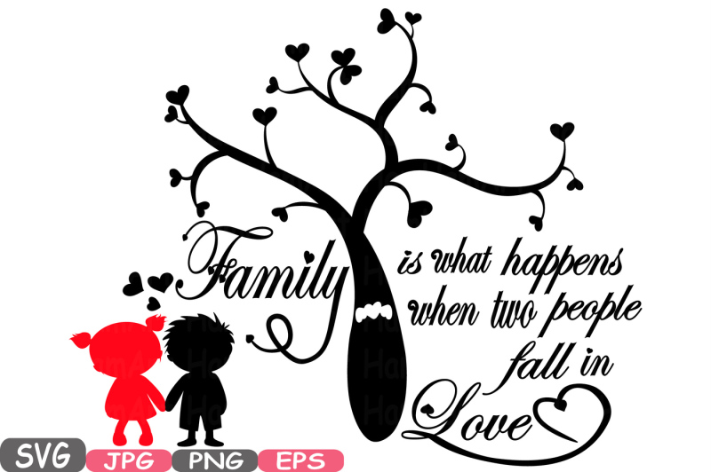 Download Family SVG Word Art family tree quote clip art silhouette ...