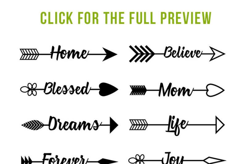 16 Arrow Words Clipart, Rustic Arrows Clipart, Arrow SVGs