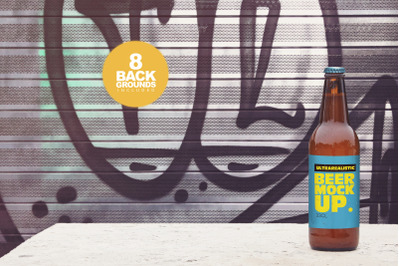 Download Amber Glass Bottle With Brown Ale Mockup Yellowimages