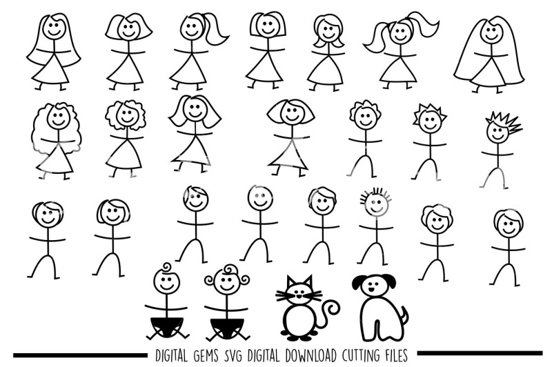 Stick figure people SVG / DXF / EPS / PNG files By Digital