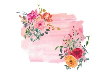 watercolor border pink flowers clip peach rose wild thehungryjpeg graphics