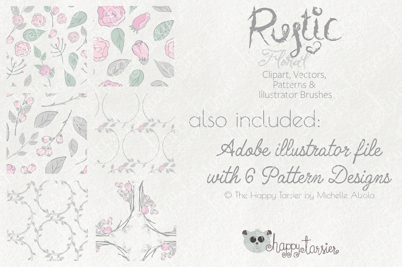 Rustic Floral Clipart, Vectors, Seamless Patterns, Digital