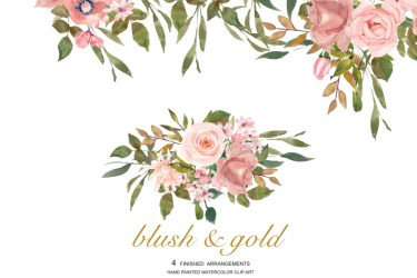 rose gold blush clipart watercolor flower leaves thehungryjpeg graphics