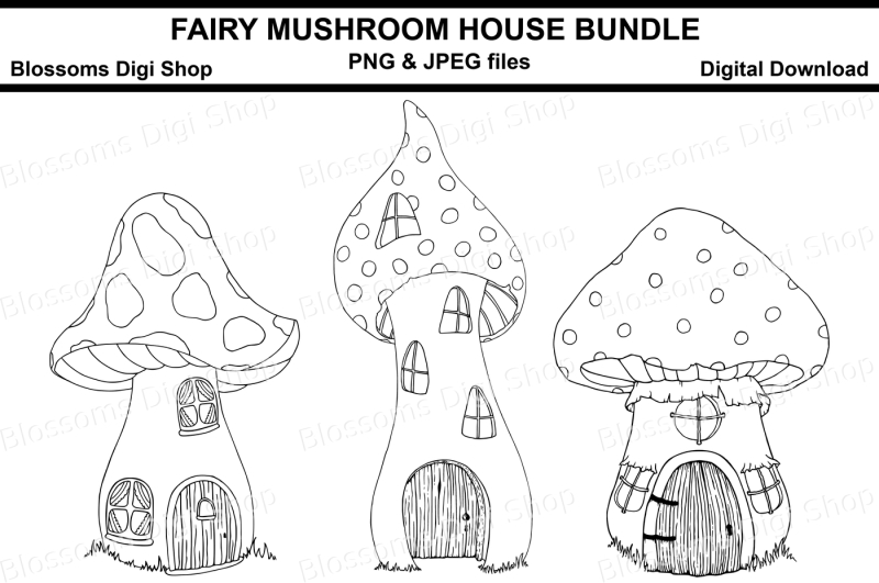 Fairy mushroom house bundle digital stamps By Blossoms