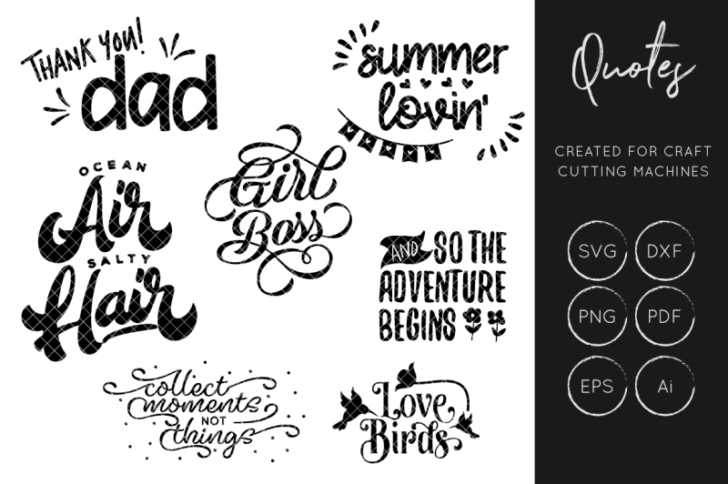 Quotes Bundle SVG, Quote SVG Cut File, Typography