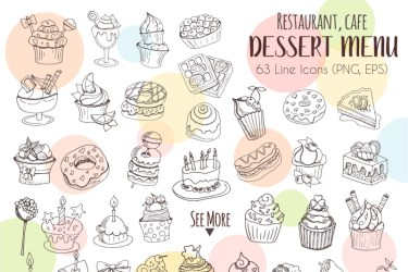 Restaurant Menu 430 vector food icons By Watercolor Arts TheHungryJPEG com
