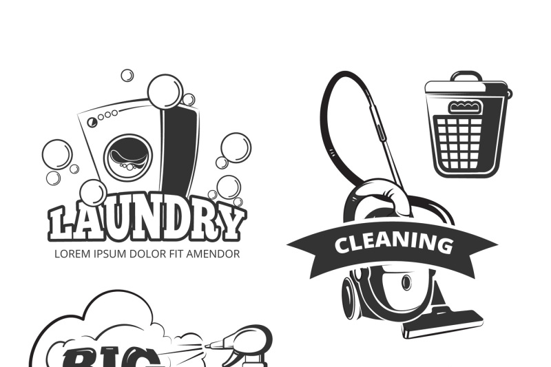 Retro cleaning and laundry services vector labels, emblems