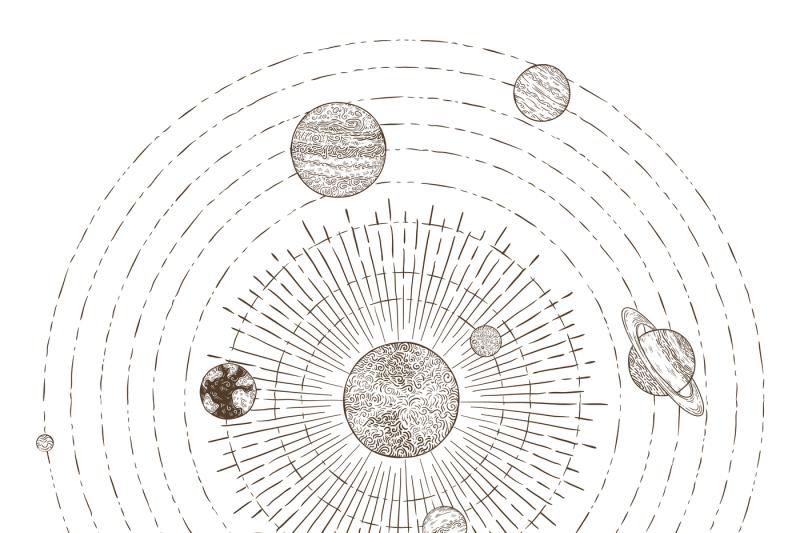 Solar system planets orbits. Hand drawn sketch planet