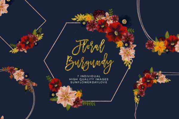 floral burgundy geometric frame