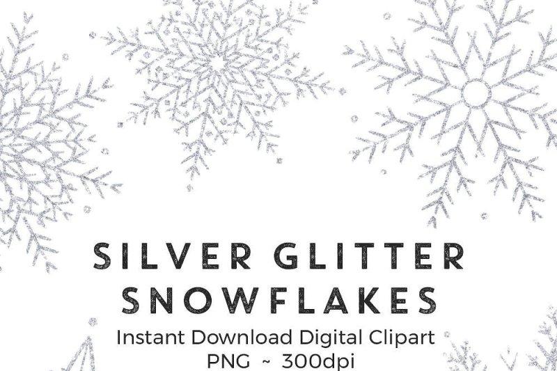 Silver glitter snowflakes clip art By Palette Pursuit