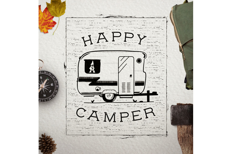happy camper logo retro