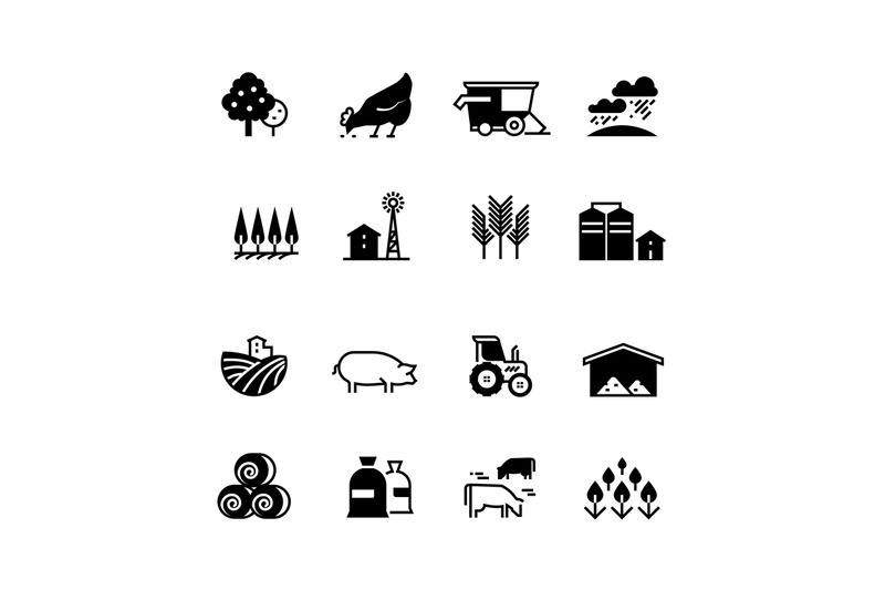 Organic farm and agriculture vector silhouette icons