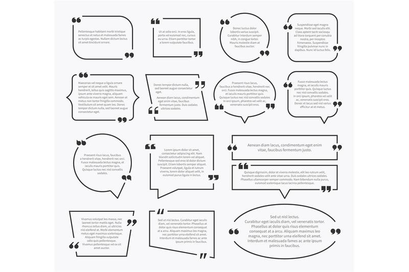 Quote boxes. Quotation sentence box design, idea paragraph