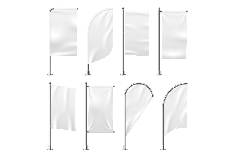 Beach flag. Template banner mockup white flags promotion