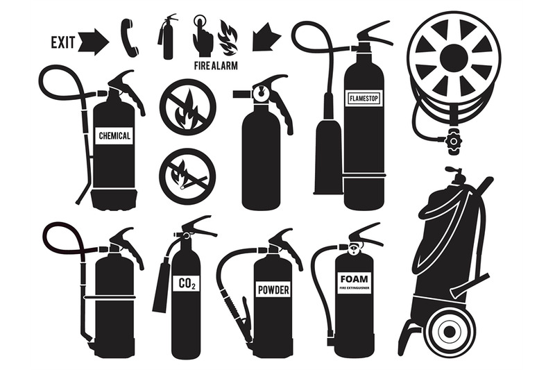 Silhouette of fire extinguisher. Flame protection symbols