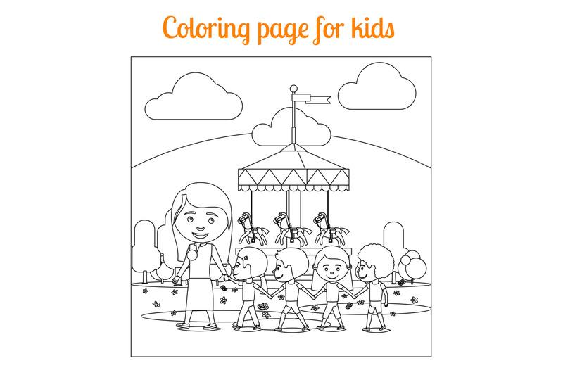 Coloring page for kids amusement park By SmartStartStocker