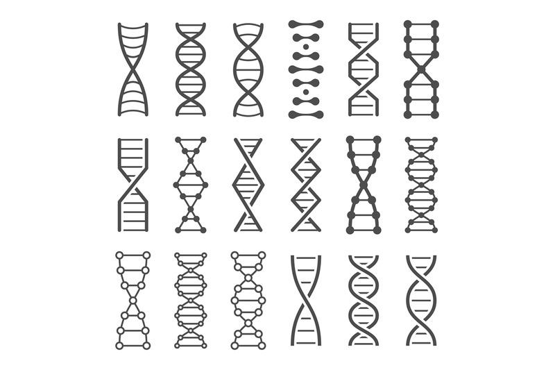 DNA spiral icon. Human genetics code, genom model and bio