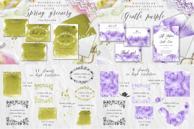 Watercolor Wedding Invitations Suits Giant Bundle By