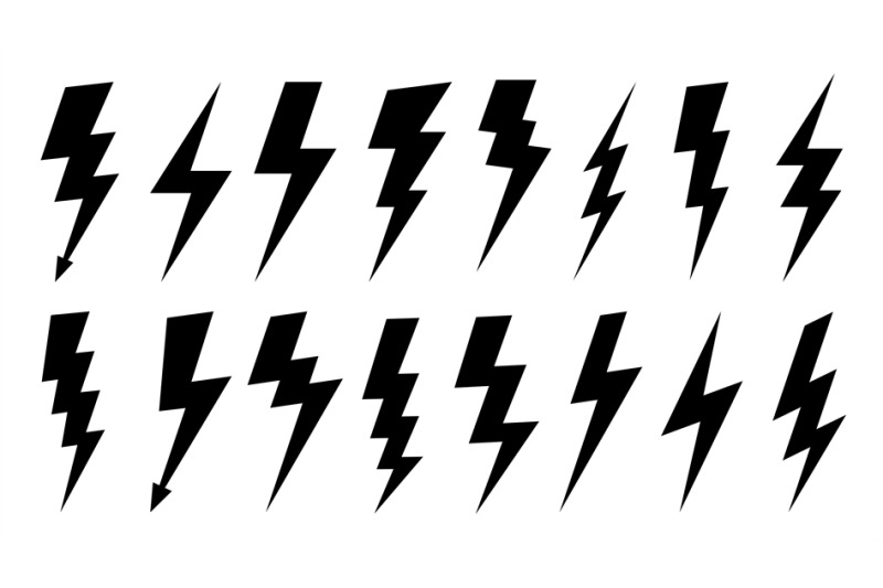 Lightning silhouette. High voltage electrical power symbol