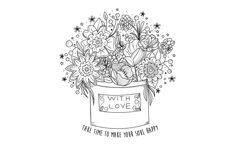 Digital coloring book page, flowers in a box By