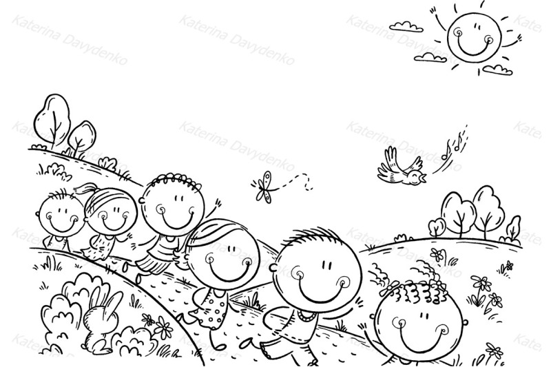 Happy kids running outdoors on a summer day By Optimistic
