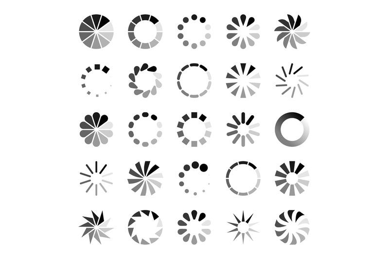 Progress loader icons. Load spinning circle circular