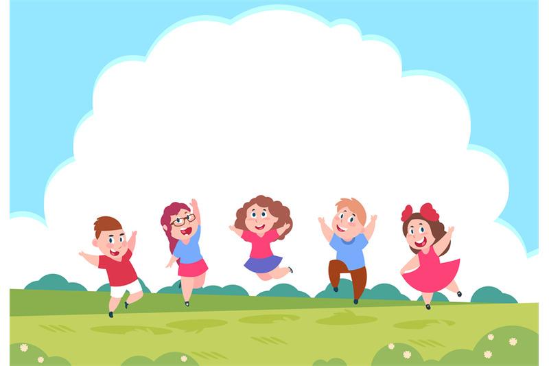 Childhood Friends Quotes Wallpaper Happy Cartoon Children Preschool Playing Kids On Summer