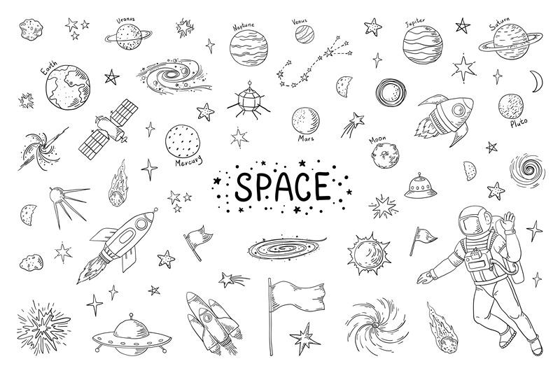 Doodle space. Trendy universe pattern, star astronaut