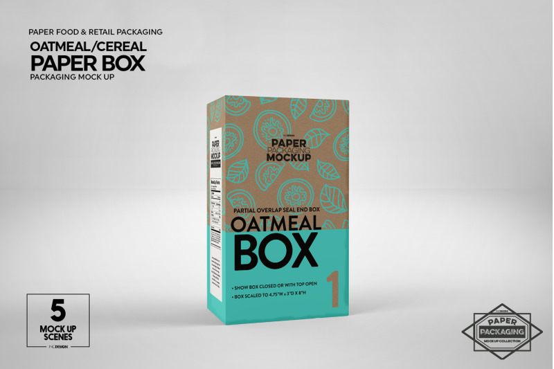 Download Paper Oatmeal/Cereal Box Packaging Mockup By INC Design ...