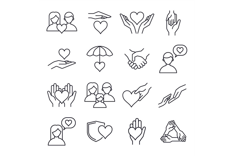 Love and kindness heart line icons. Friends, family