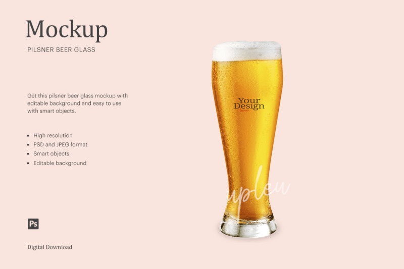 Download 330ml Amber Bottle With Beer Mockup Yellowimages