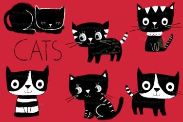 cute clipart cat clip kitty cats christmas thehungryjpeg