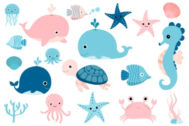 sea clip kawaii animals clipart cute octopus fish jellyfish under seahorse turtle whale pink crab crabs thehungryjpeg australia island christmas
