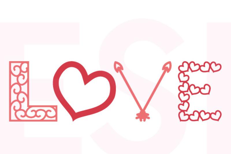Download LOVE - Word Art Design, SVG, DXF, EPS. By ESI Designs ...