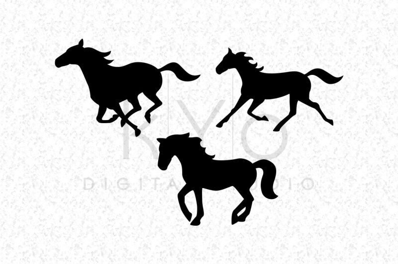 Running Horse Mustang Silhouettes Equestrian SVG DXF PNG