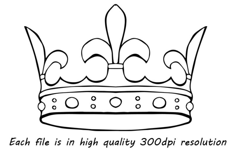 Doodle Crown Clipart, Hand drawn Crown Clip Art, Crown